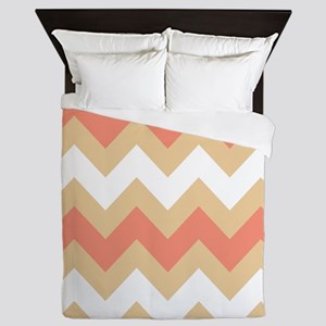 Cool Coral Mix Stripe Queen Duvet