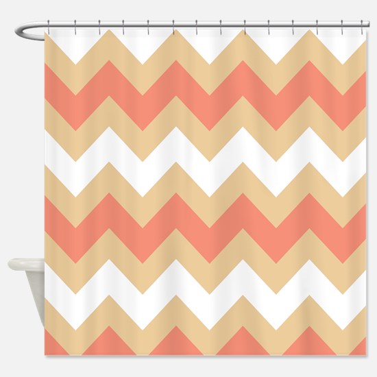 Cool Coral Mix Stripe Shower Curtain