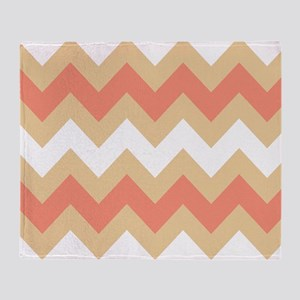Cool Coral Mix Stripe Throw Blanket