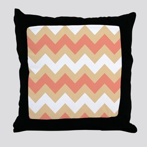 Cool Coral Mix Stripe Throw Pillow