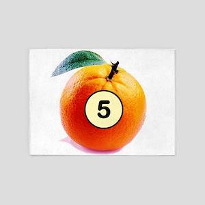 Orange Five Ball 5'x7'Area Rug