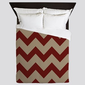Burgundy and Tan Chevron Queen Duvet
