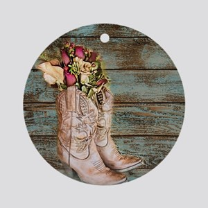 modern cowboy boots barn wood Ornament (Round)
