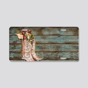 modern cowboy boots barn wood Aluminum License Pla