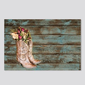 modern cowboy boots barn wood Postcards (Package o
