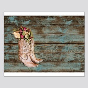 modern cowboy boots barn wood small poster