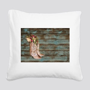 modern cowboy boots barn wood Square Canvas Pillow