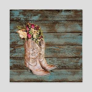modern cowboy boots barn wood Queen Duvet