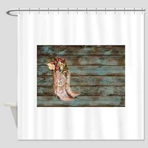 modern cowboy boots barn wood Shower Curtain