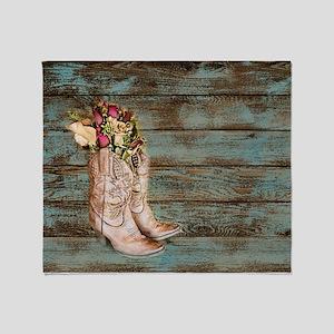 modern cowboy boots barn wood Throw Blanket