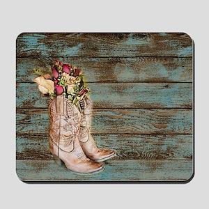 modern cowboy boots barn wood Mousepad