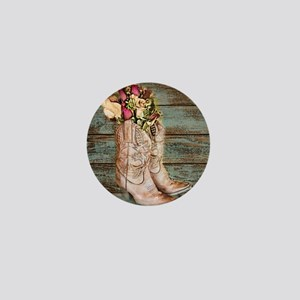 modern cowboy boots barn wood Mini Button