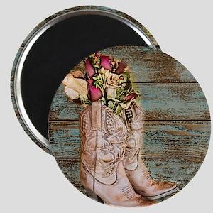 modern cowboy boots barn wood Magnets
