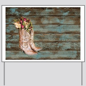 modern cowboy boots barn wood Yard Sign