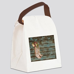modern cowboy boots barn wood Canvas Lunch Bag