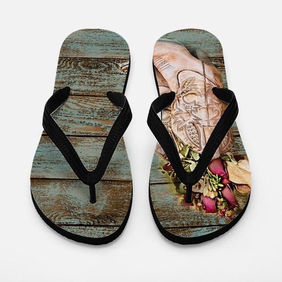 modern cowboy boots barn wood Flip Flops