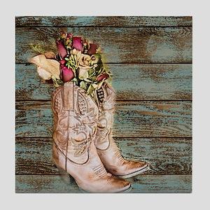 modern cowboy boots barn wood Tile Coaster