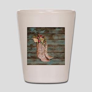 modern cowboy boots barn wood Shot Glass