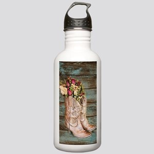 modern cowboy boots barn wood Water Bottle