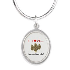 Love Loose Morels Silver Oval Necklace