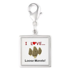 Love Loose Morels Silver Square Charm