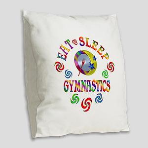Eat Sleep Gymnastics Burlap Throw Pillow