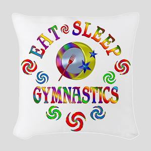 Eat Sleep Gymnastics Woven Throw Pillow