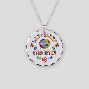Eat Sleep Gymnastics Necklace Circle Charm