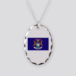 Flag of Michigan Necklace Oval Charm