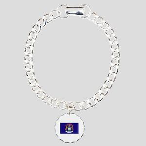 Flag of Michigan Charm Bracelet, One Charm