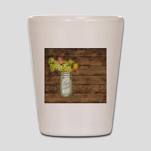 mason jar floral barn wood western country Shot Gl
