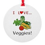 I Love Veggies Round Ornament