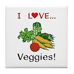 I Love Veggies Tile Coaster