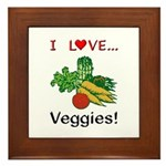 I Love Veggies Framed Tile