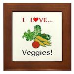 I Love Veggies Framed Tile