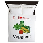 I Love Veggies Queen Duvet