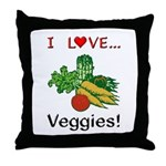 I Love Veggies Throw Pillow