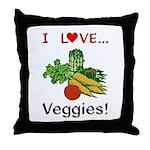 I Love Veggies Throw Pillow