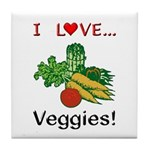I Love Veggies Tile Coaster