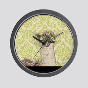 western country lavender damask Wall Clock