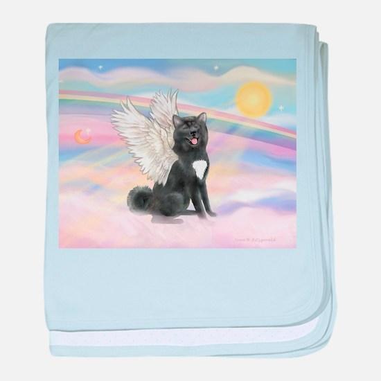 Black Akita Angel baby blanket