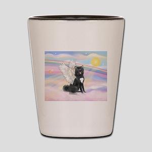 Black Akita Angel Shot Glass
