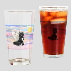 Black Akita Angel Drinking Glass