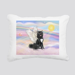 Black Akita Angel Rectangular Canvas Pillow