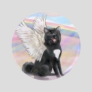 "Black Akita Angel 3.5"" Button"
