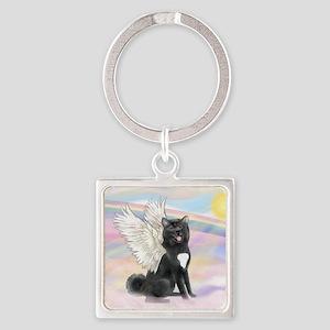 Black Akita Angel Square Keychain