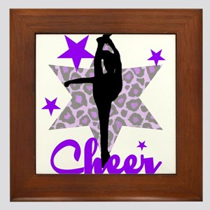 Purple Cheerleader Framed Tile