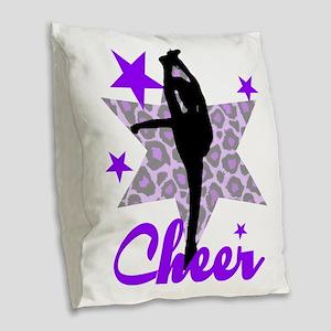Purple Cheerleader Burlap Throw Pillow