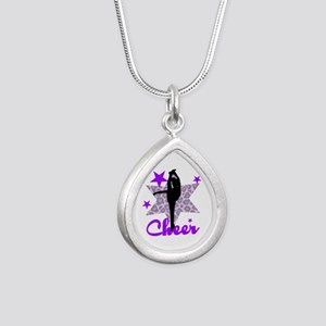 Purple Cheerleader Silver Teardrop Necklace