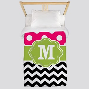 Pink Green Chevron Dots Personalized Twin Duvet